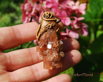 FREE Shipping Aragonite Star Cluster Necklace handsculpted Clay Organic Nature Woodland