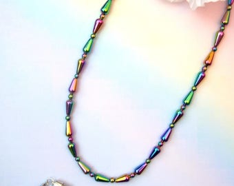 Rainbow haematite necklace with magnetic clasp