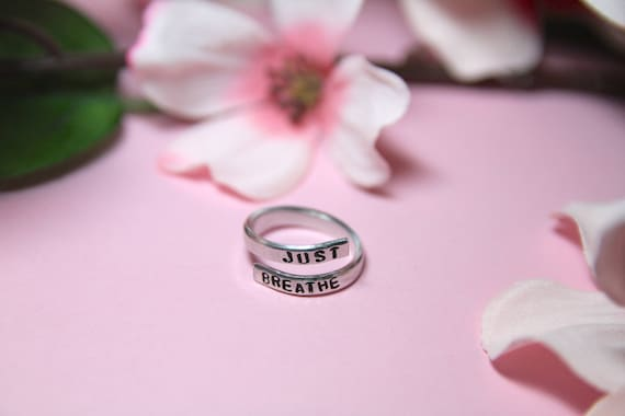 Just Breathe Ring | Inhale Exhale Ring | Inspirational Ring | Anxiety Ring | Just Breathe Jewelry | Stress Relief Jewelry | Breathe jewelry