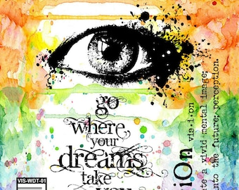 Face Stamp, Eye Stamp, Where Dreams Take You, Visible Image Stamps, Stamp, Paper Craft, Card Making, Mixed Media