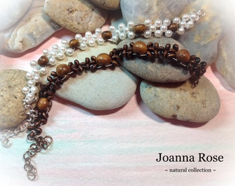 Wedding ~ Bridesmaid ~ Jewelry ~ Woven Bead Bracelet ~ Wood Pearl Gold Vintage Beads ~ Handmade ~ Customizable