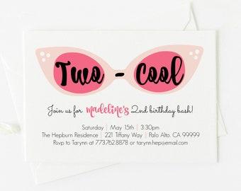 Two Cool Audrey Hepburn Inspired Birthday Invitation . Pink Sunglasses . Birthday . 4x6 or 5x7