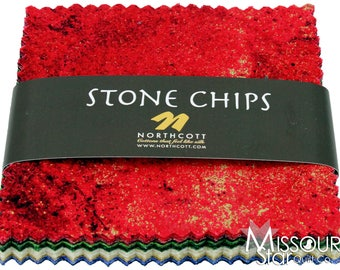 Northcott Stone Chips 5 x 5 metallics charm pack