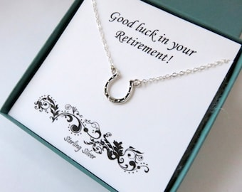 Retirement Gift for Women, Sterling Silver Horseshoe Necklace, Graduation gift for Her, Horseshoe jewelry, Retirement Gift, marciahdesigns