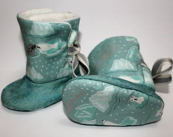 Baby Boots, Icy Waters, Ribbon Tie Booties, 0-3 months, Polar Bear, Seal, Sea Lion, Sparkle, Glitter, Boots, Baby, Booties, Baby Shower