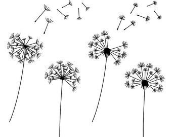 Dandelions Digital Stamps Doodles Clipart Clip Art Illustrations - instant download - limited commercial use ok