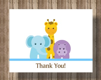 BABY SHOWER Thank You Cards/ Jungle Animals Notecards Set of 10/ Elephant Giraffe Thank You Card/ Jungle Animal Baby Shower OR 1st Birthday