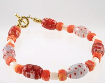 Handmade orange glass beaded bracelet - Orange Slice
