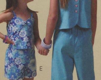 McCalls 4762 Sewing Pattern, Girls Top, Shorts, Skort, Capri Pants, Size 10-1, 4 OOP