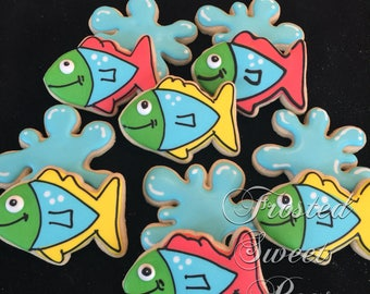 2 dozen whimsical fish cookies