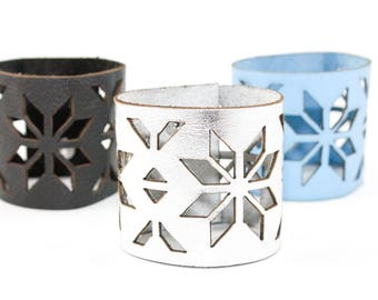 Wide Leather Cuff Bracelet - Winter Snowflake Pattern - Laser Cut Leather (Custom Made Bracelets - Choose Your Color and Size)