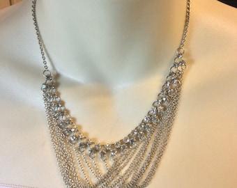 Vintage 1940's chatelaine chain dangles rhinestones bib necklace .