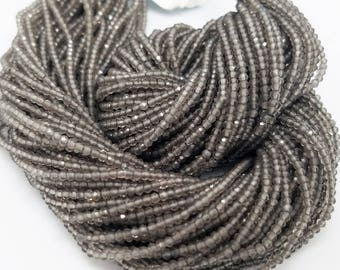 2mm Gray Moonstone Micro Faceted Beads, 13 inch