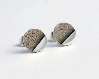 Geometric botanical circle studs sterling silver dots studs