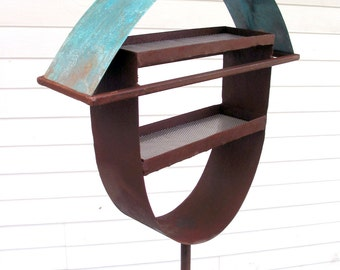 Bird feeder Sculptural Steel & Copper Bird Feeder No. 324 - Freestanding unique modern birdfeeder