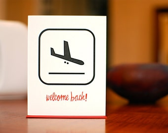 Welcome Back - Descending Airplane Pictograph Card on 100% Recycled Paper