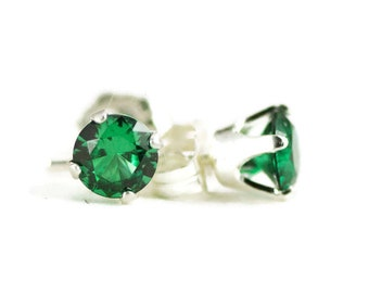 Emerald Stud Earrings - Sterling Post Earrings - Choose Your Stone from Ruby, Sapphire and More