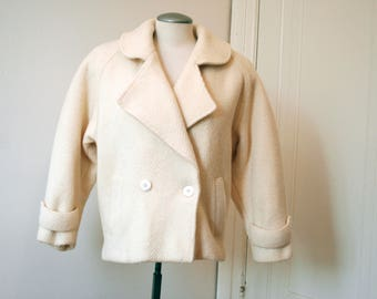 VTG 50s Cropped Wool Coat|Boiled Wool Jacket|White Pea Coat|Double Breasted Coat|Cocoon Coat|60s Wool Coat|Crop Jacket|White Wool Coat|M