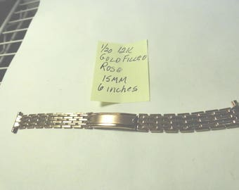 Vintage 1920s  Rose Gold Filled 15MM Adjustable Watch Band 6 inches long