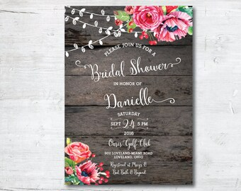 Wedding Shower Invitation Template, Printable Bridal Shower Invitation, Bridal Shower Invitation, Bridal Shower, Invitation, Rustic, Shower