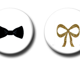 Gender Reveal Party Favors 1 inch Pinback Buttons or 1 inch Flatback Button Black and Gold Bows