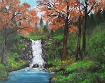 Fall Waterfall, Original Oil in full color on 24x18x1 canvas