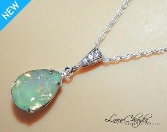 Chrysolite Green Opal Necklace Mint Green Opal Silver Necklace Swarovski Rhinestone Teardrop Necklace Bridesmaid Light Green Wedding Jewelry