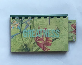 Handmade Green 'Greatness' Blank Recipe book for Personal Recipes