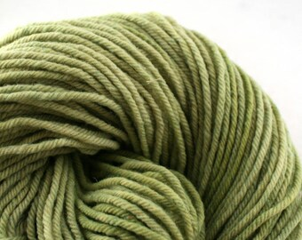 Hand Dyed Aran weight mini Empire Rambouillet Wool 213 yds 4oz Frosted Moss