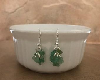 SALE Green Sea Glass Drop Earrings - Summer Beach Earrings - Sea Glass Beaded Earrings