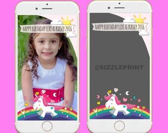 UNICORN RAINBOW GEOFILTER Plus Family & Friends Message   Custom Personalized Snapchat Geofilter   Girl Unicorn Rainbow Birthday Party