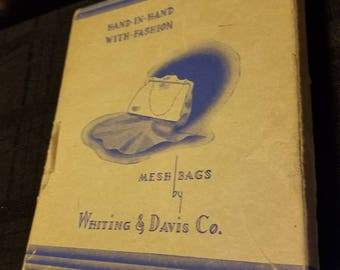Whiting & Davis Co vintage mesh evening bag in box