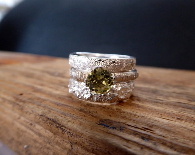 Stacking Rings Peridot Silver Green Jewerly August Birthstone Gifts for Her