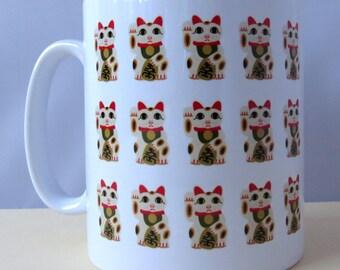 Maneki Neko - Lucky Cat - 11oz Ceramic Mug - Gift for Her - Gift for Him - Housewarming