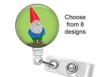 Gnome Badge Reel, ID Badge Holder clip, Medical Badge Reel, Garden Gnome Badge Reel