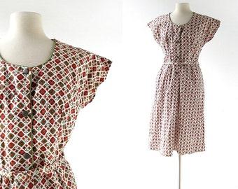 60s Cotton Dress | Desert Lily | 1960s Dress | Medium M