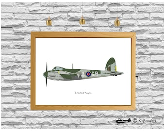 Nursery plane print digital download, de Havilland Mosquito, travel picture downloads, fighter aircraft art, ww2 airplane, instant download