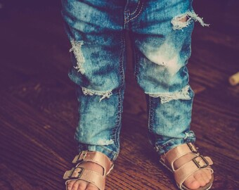 Girls all torn up Jeans - distressed skinny jeans with holes and rips for babies and toddlers