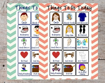 Printable Daily Behavior To Do Checklist Chart, Printable Autism Behavior Checklist, Autism To Do Checklist, Behavior Motivation, Checklist