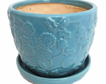 "Pastel Blue Floral Planter with Attached Saucer - 6"" x 5"""