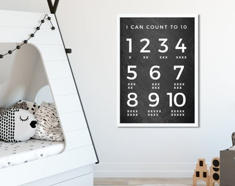Numbers print | kids poster | numbers wall art |  printable | nursery decor | numbers poster | Learn numbers chart