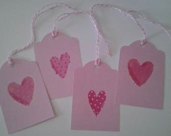 Set of 10 Valentine Hearts Gift Tags