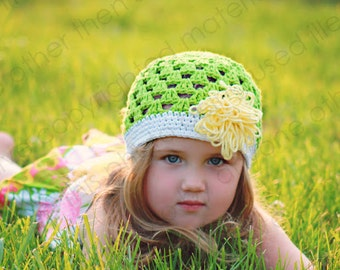 "Beanie Hat Crocheted ""The Tiffany Marie"" Grass, White, Pale Yellow  Colorful Trim Loopy Flower"