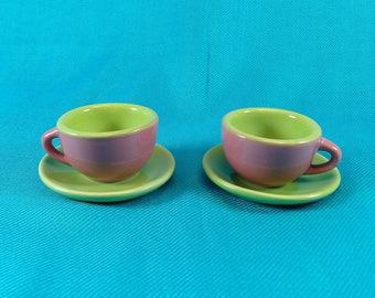 Doll Tea Cups Pink and Green Miniature Tea Set