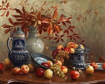 Still Life with Jugs and Fruits - Cross stitch pattern pdf format