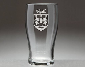 Neill Irish Coat of Arms Tavern Glasses - Set of 4 (Sand Etched)