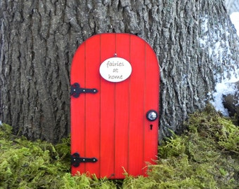 Fairy Door red fairy garden miniature with your choice of sign - fairy accessories - handcrafted wooden door with key and key hole