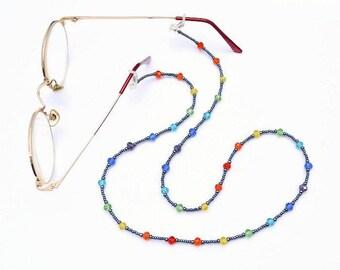 Rainbow Beaded Spectacle Holder, Rainbow Eye Glasses Chain, Rainbow Spectacle Cord, Rainbow Eye Glass Lanyard, Rainbow Glasses Holder