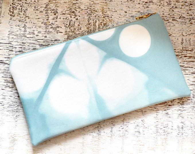 Hand Dyed Shibori Pouch - Turquoise Clutch - Sea Glass