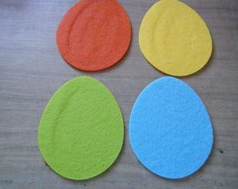set of 4 eggs multicolored felt to decorate for scrapbooking, cardmaking